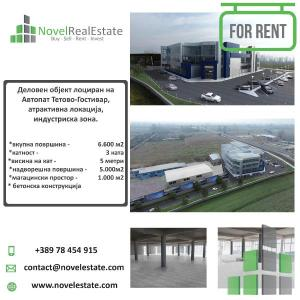 <p>Deloven Objekt lociran na Avtopat Tetovo-Gostivar, atraktivna lokacija , vo Industriska zona.</p><p>Karakteristiki:</p><ul><li>vkupna povrshina ------------------------------------- 6.600m2</li><li>katnost -------------------------------------------------- 3 kata</li><li>visina na kat ----------------------------------------- 5 metri</li><li>nadvoreshna povrshina ---------------------------- 5.000 m2</li><li>magacinski prostor -------------------------------- 1.000 m2</li><li>betonska konstrukcija</li></ul>